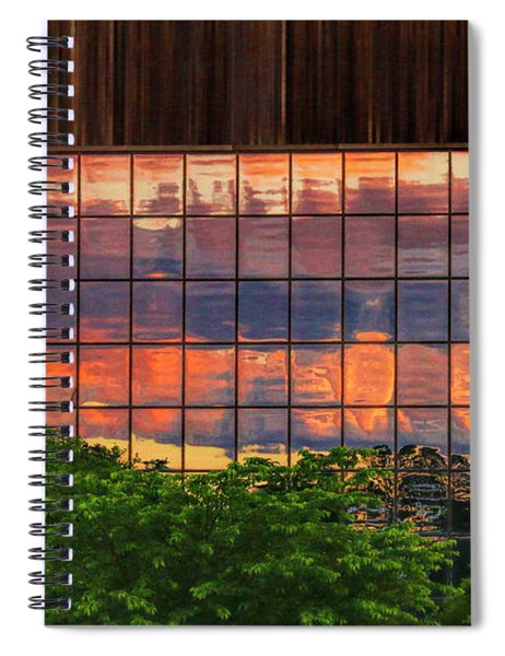 Sunset Reflections On A Wall Of Glass Spiral Notebook
