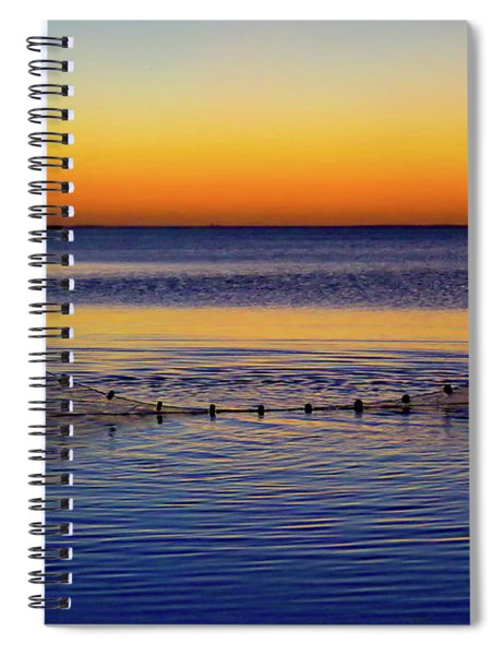 Sunset Seining On Copano Bay Spiral Notebook