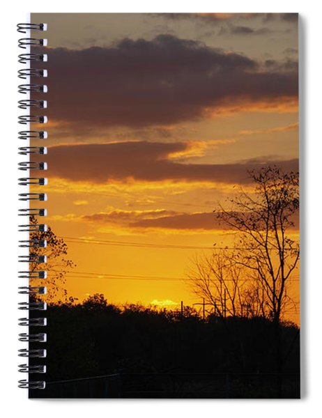 Sunset With Electricity Pylon Spiral Notebook