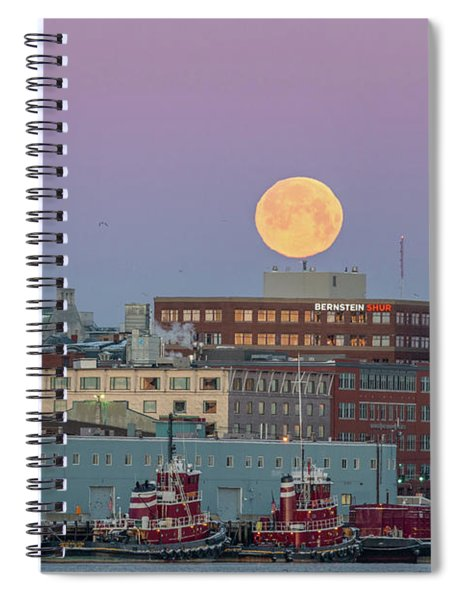 Super Snow Moon Over Portland Spiral Notebook