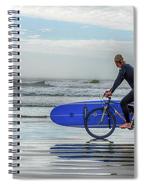 Surfer On Bike Spiral Notebook