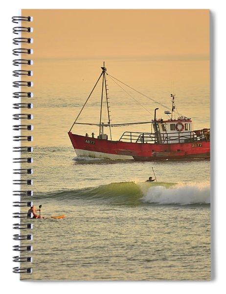 Surfing At Dusk Ij Aberystwyth Spiral Notebook