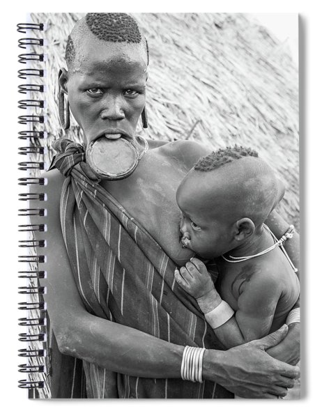 Mursi Mother And Child Spiral Notebook