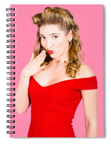 Surprised Retro Pinup Girl On Pink Background Spiral Notebook