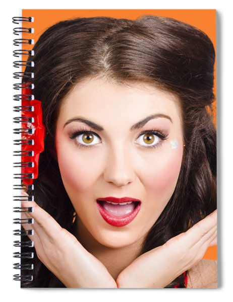 Surprised Vintage Woman Spiral Notebook