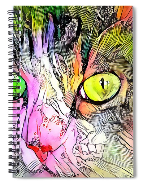 Surreal Cat Wild Eyes Spiral Notebook