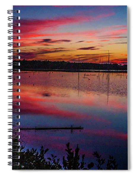 Sunset In The Pines Lands Spiral Notebook by Louis Dallara