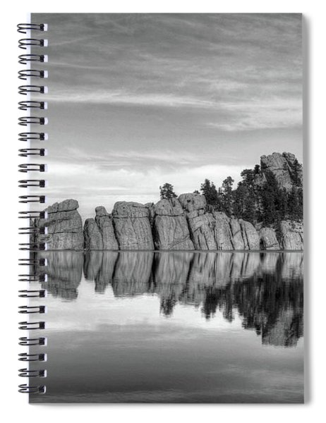 Sylvan Lake Reflections Black And White Spiral Notebook by Mel Steinhauer