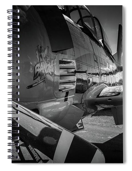 Spiral Notebook featuring the photograph T-28b Trojan In Bw by Doug Camara
