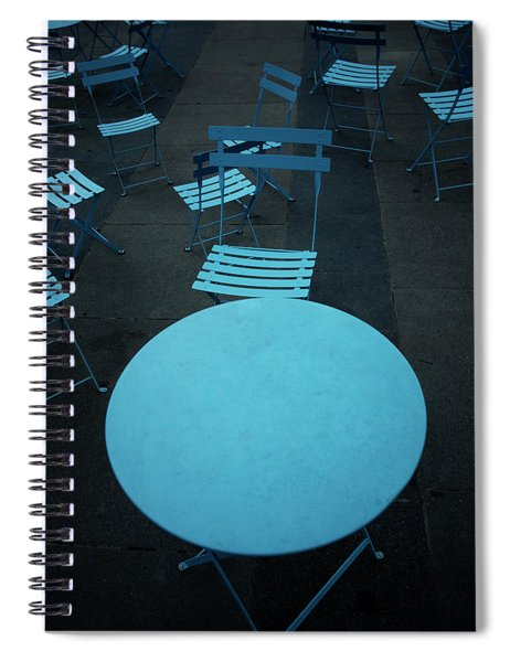 Tables And Chairs At A Cafe, Old Spiral Notebook