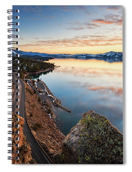 Tahoe Sunset Reflections Atop Cave Rock Spiral Notebook