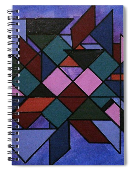 Spiral Notebook featuring the painting  Tangram Art Number 3  by Samantha Galactica