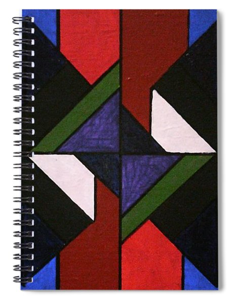 Spiral Notebook featuring the painting Tangram Art Number 5 Stained Glass by Samantha Galactica