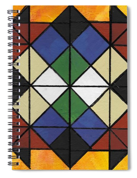 Spiral Notebook featuring the painting Tangram Art Number 6  Geometric Sunburst by Samantha Galactica