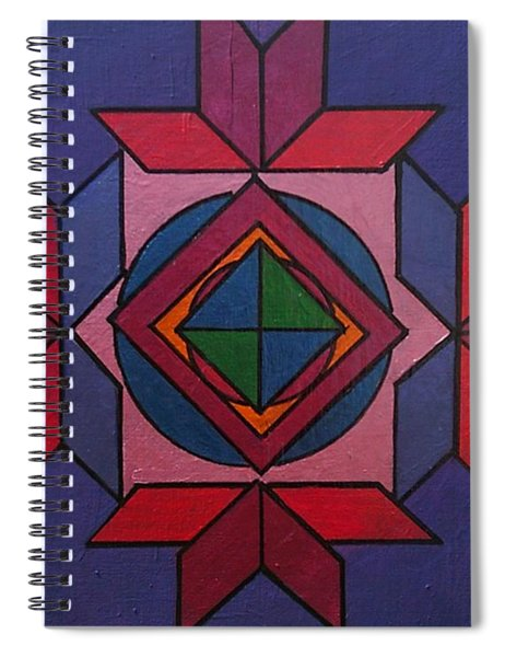 Spiral Notebook featuring the painting Tangram Art Number 7 Metallic by Samantha Galactica