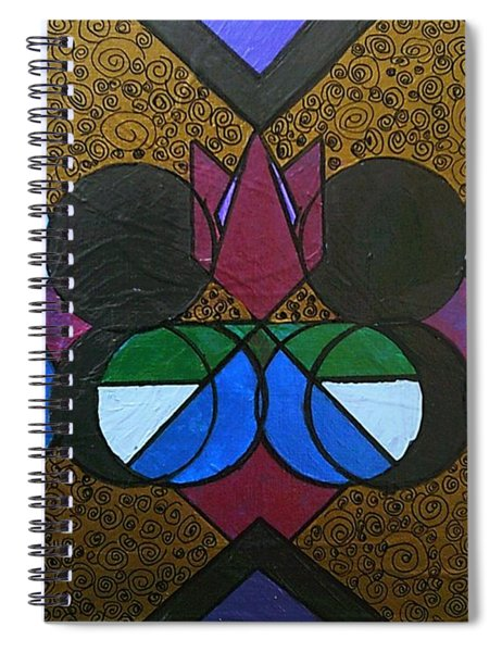 Spiral Notebook featuring the painting Tangram Art Number 8 Bronzed by Samantha Galactica