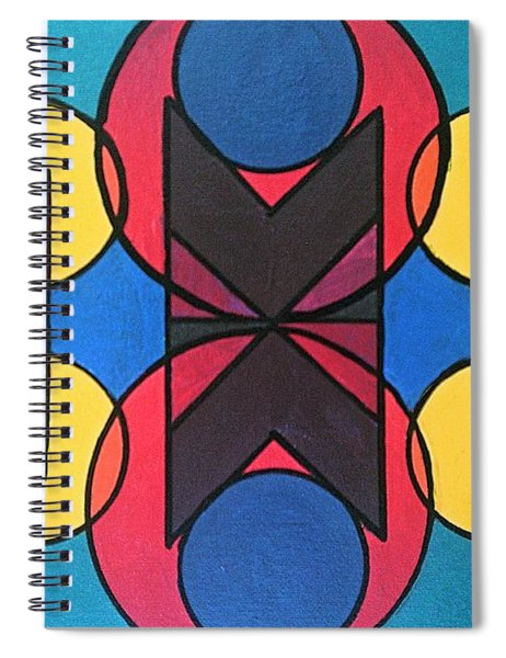 Spiral Notebook featuring the painting Tangram No. 9 Kaleidoscope by Samantha Galactica