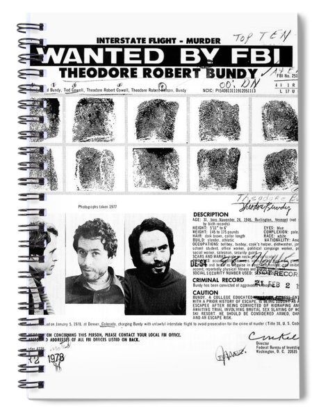 Ted Bundy - Wanted By The Fbi Spiral Notebook