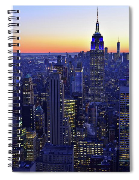Terminal Tower And Lower Manhattan Nyc At Dusk Spiral Notebook