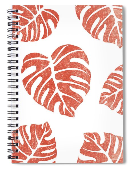 Terracotta Leaf - Monstera - Terracotta Abstract Print - Modern, Minimal, Contemporary Abstract Spiral Notebook