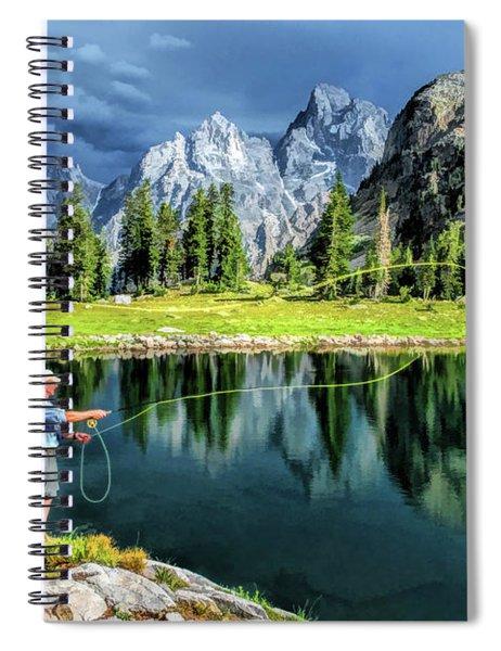Grand Teton National Park Mountain Lake Fishing Spiral Notebook