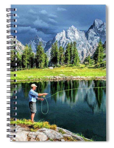 Teton Mountain Fishing Spiral Notebook by Christopher Arndt