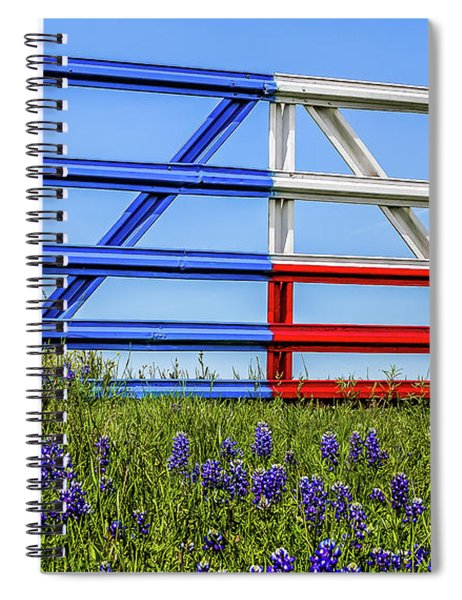 Texas Flag Painted Gate With Blue Bonnets Spiral Notebook