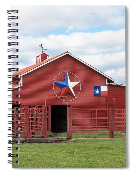 Spiral Notebook featuring the photograph Texas Red Barn by Robert Bellomy