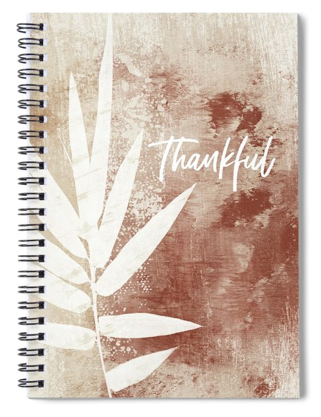 Thankful Autumn Clay Leaf- Art By Linda Woods Spiral Notebook by Linda Woods
