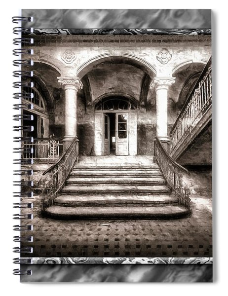 Spiral Notebook featuring the digital art The Abandoned Staircase by Mario Carini