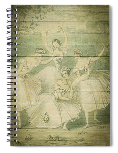 The Ballet Dancers Shabby Chic Vintage Style Portrait Spiral Notebook