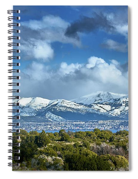 The City Of Bariloche And Landscape Of Snowy Mountains In The Argentine Patagonia Spiral Notebook