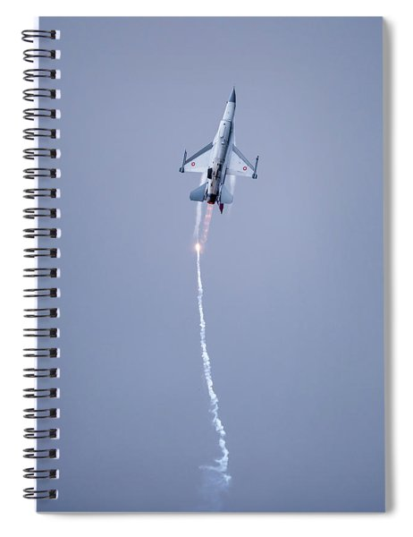 The Danish F-16 Fighting Falcon In High Speed Action Dropping Flares Spiral Notebook