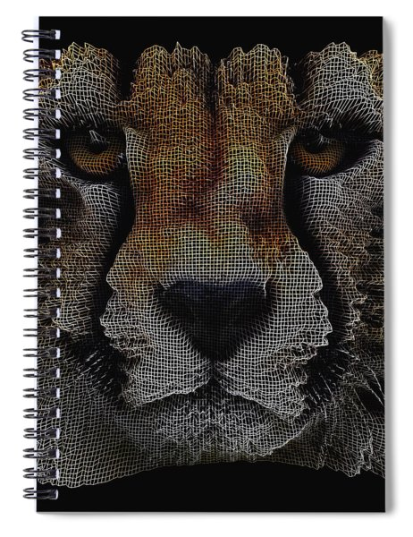 Spiral Notebook featuring the digital art The Face Of A Cheetah by ISAW Company