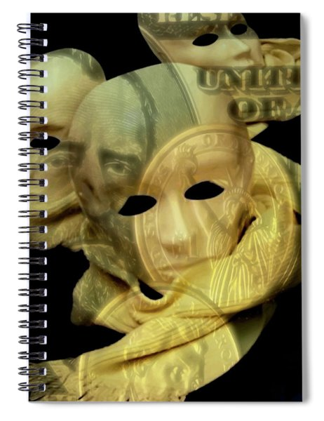 Spiral Notebook featuring the digital art The Face Of Greed by ISAW Company