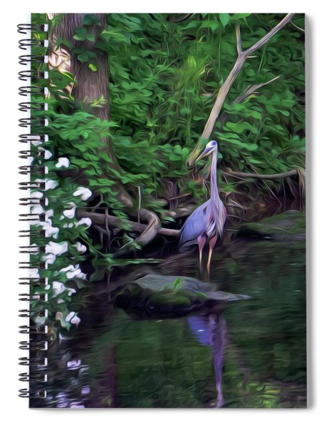 The Great Blue Heron - Impressionism Spiral Notebook