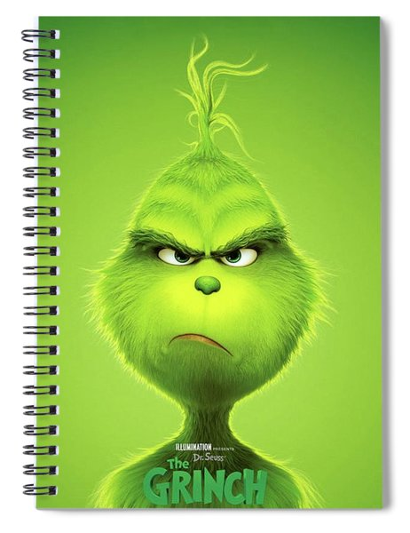 Spiral Notebook featuring the mixed media The Grinch, 2018 B by Movie Poster Prints