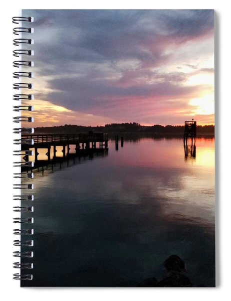 The Hollering Place Pier At Sunset Spiral Notebook
