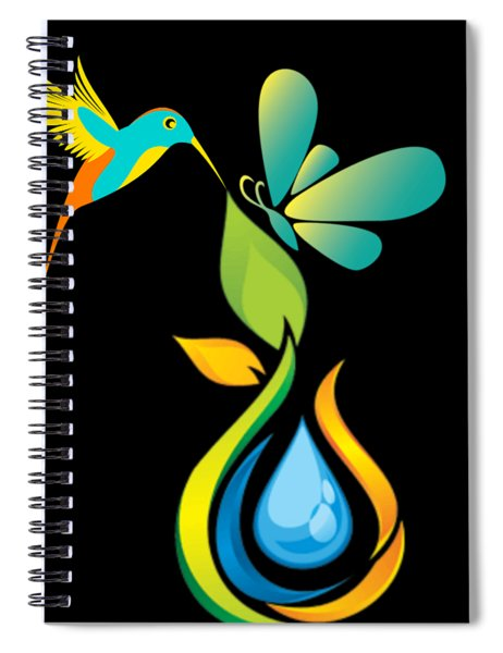 The Kissing Flower And The Butterfly On Flower Bud Spiral Notebook