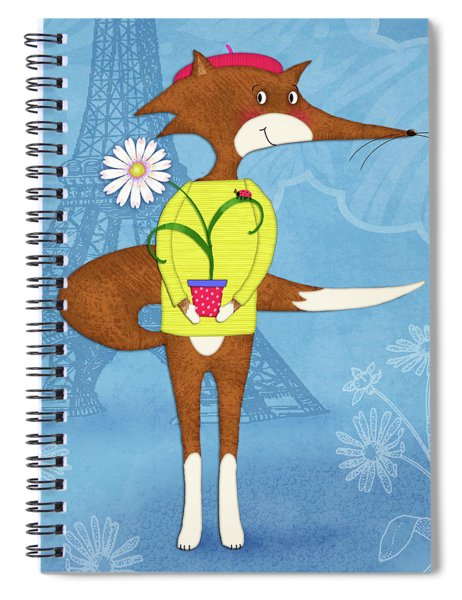 The Letter F For French Fox Spiral Notebook