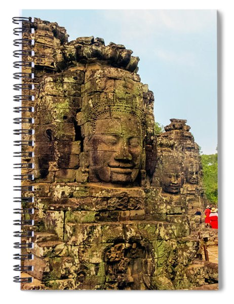 The Many Faces At Bayon Temple, Angkor, Cambodia Spiral Notebook