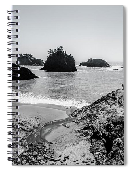The Oregon Coast In Black And White Spiral Notebook