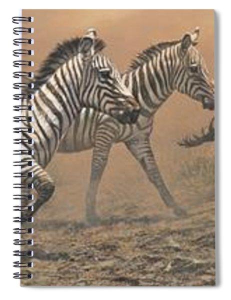 The Race - Zebras Spiral Notebook by Alan M Hunt