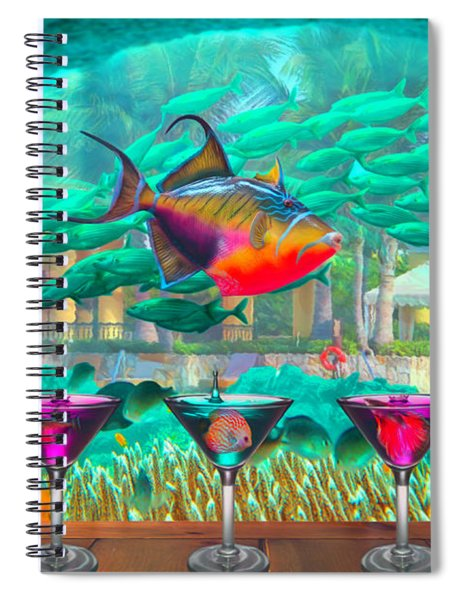 The Reef Martini Bar Watercolor Painting Spiral Notebook