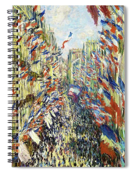 The Rue Montorgueil In Paris. Celebration Of June 30, 1878 - Digital Remastered Edition Spiral Notebook