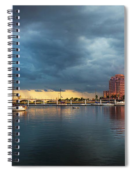 The Skyline Of West Palm Beach At Sunset Spiral Notebook