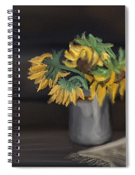 Spiral Notebook featuring the painting The Sun Flowers  by Fe Jones