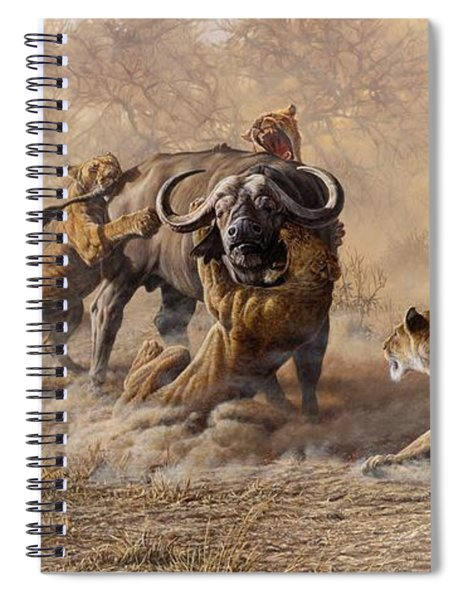 Spiral Notebook featuring the painting The Take Down - Lions Attacking Cape Buffalo by Alan M Hunt