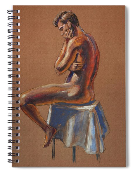 The Thinker Male Model Study In Gouache Spiral Notebook