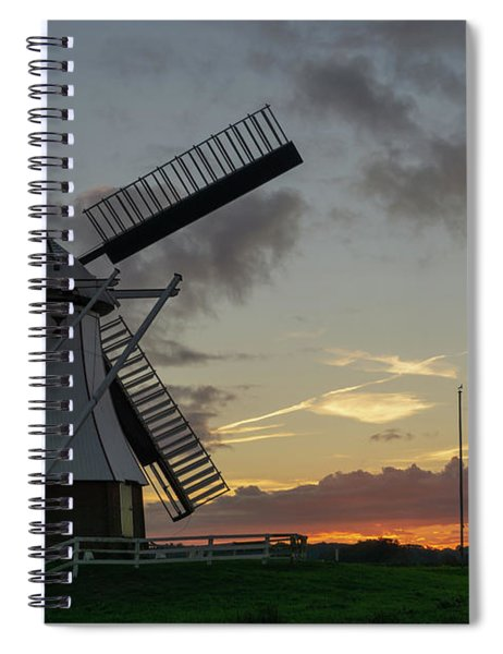 Spiral Notebook featuring the photograph The White Mill by Anjo Ten Kate